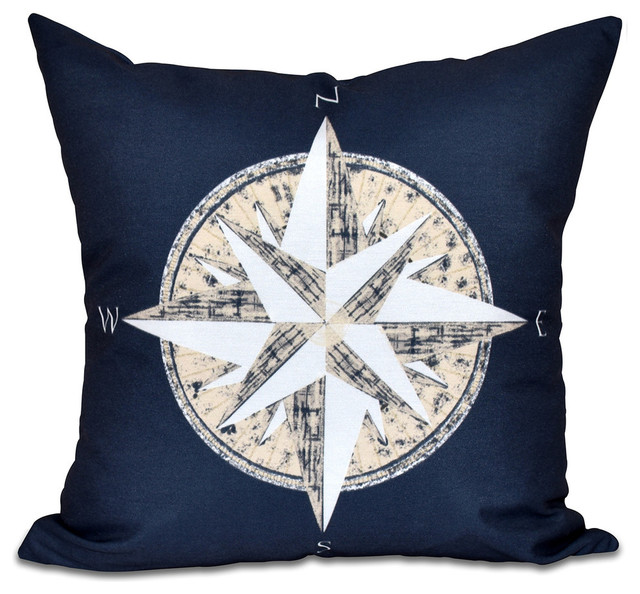 Compass, Geometric Print Pillow - Traditional - Decorative Pillows - by E by Design