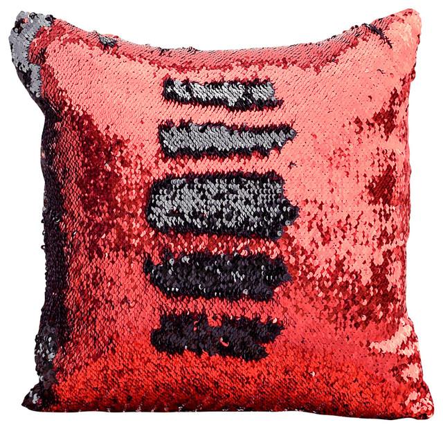 red black sequin mermaid pillow red black 15 x 15. Black Bedroom Furniture Sets. Home Design Ideas