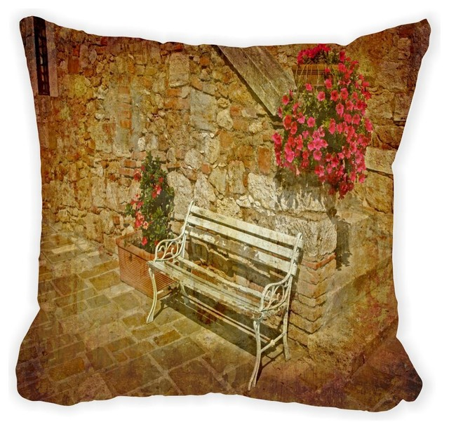 Throw Pillows On Clearance : Old Bench In Nice Patio Microfiber Throw Pillow - Modern - Decorative Pillows - by Rikki Knight LLC
