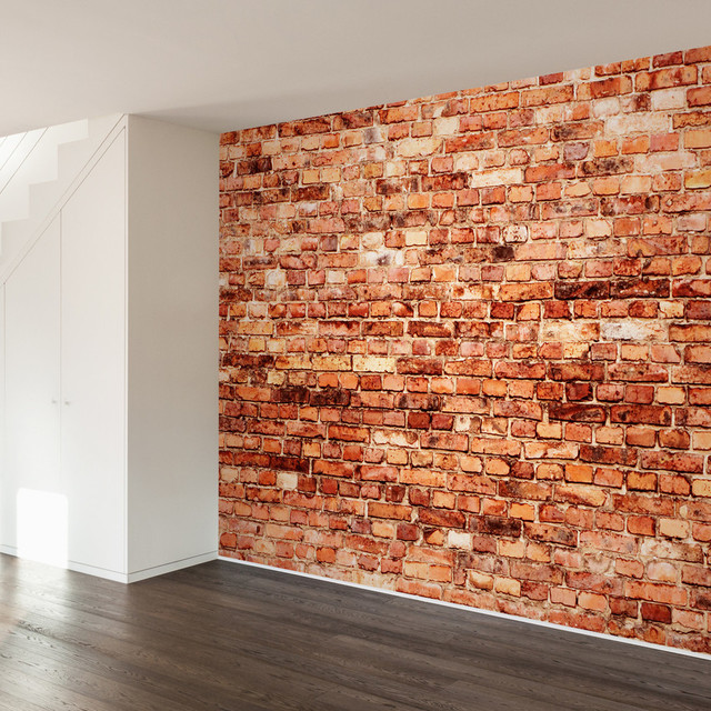 Brick exterior wall mural decal 4 panel contemporary for Brick wall decal mural