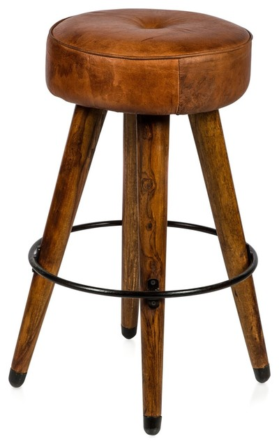 Retro Wood And Leather Stool