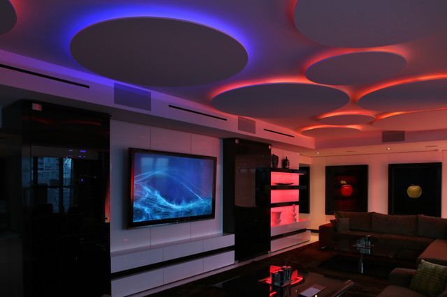 Miami Penthouse Mancave Gameroom LED Lighting - Contemporary - Living Room - miami - by ...