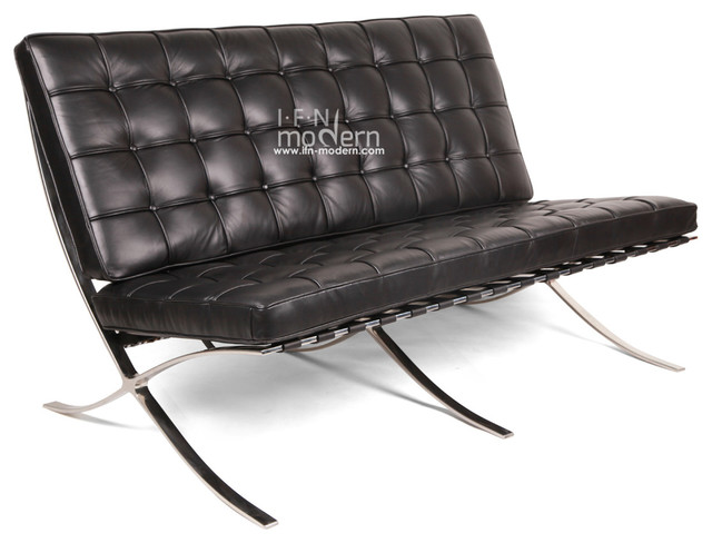Barcelona loveseat black 100 italian leather modern for Sofas 4 plazas barcelona