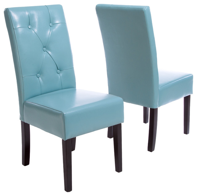 Alexander Leather Dining Chairs Set 2 Teal Blue