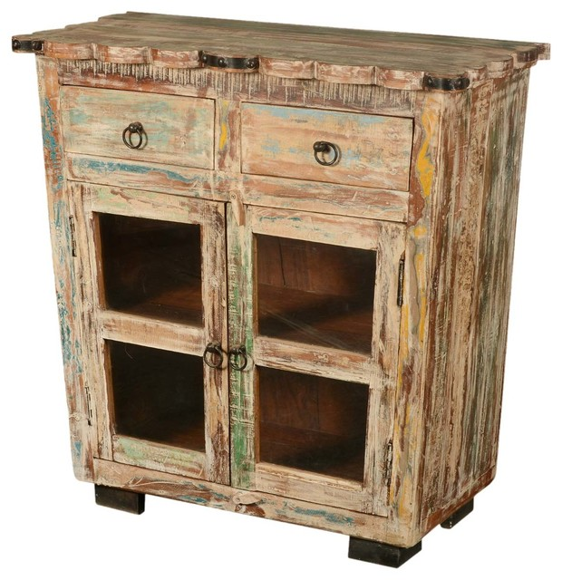 Reclaimed Wood Scalloped Edge Display Buffet Cabinet ...