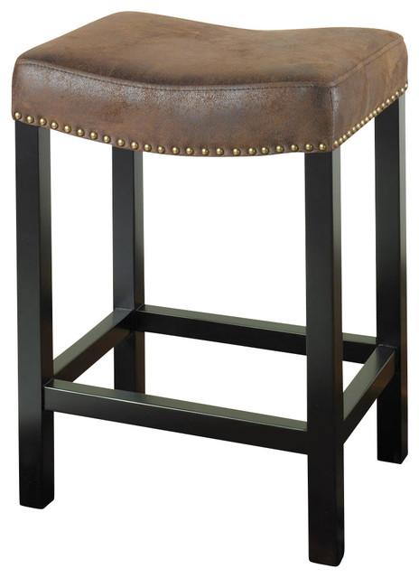 Tudor Backless Brown Fabric Covered Bar Stool Traditional Bar Stools And