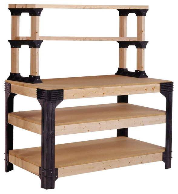 Workbench shelving unit potting bench storage system 2x4 - Potting bench with storage ...