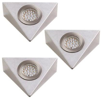 alilumi kit 2 spots et 1 spot avec interrupteur triangulaires inox bross contemporain kit. Black Bedroom Furniture Sets. Home Design Ideas