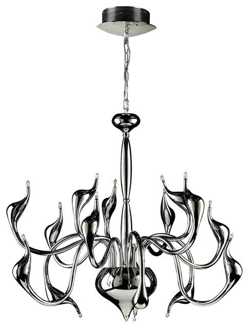 Swan Polished Chrome Modern Chandelier Contemporary Chandeliers By The Elite Home