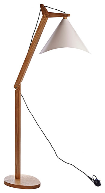 Modern Style Adjustable Tapered Shade Wooden Floor Lamp