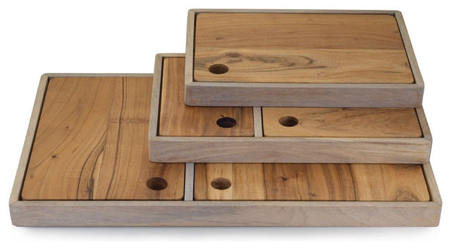 Acacia Board And Tray Set Contemporary Chopping Boards