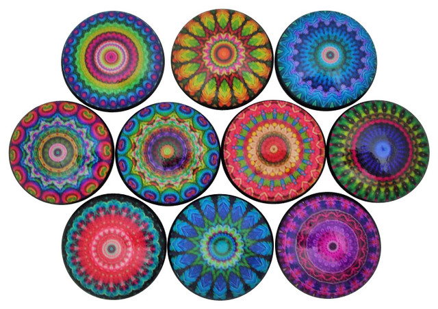 Set of 10 Bright Mandala Cabinet Knobs - Contemporary - Cabinet And Drawer Knobs - by Twisted R ...