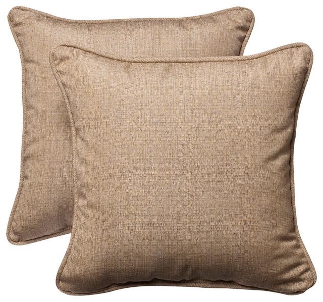 Tan Linen Throw Pillow : Sunbrella Linen Tan 18.5