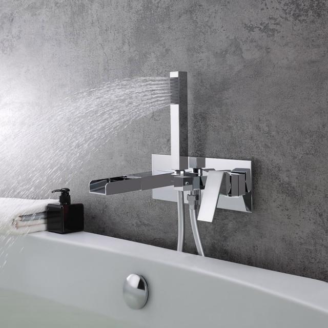 Mero Modern Waterfall Wall Mount Tub Filler Faucet
