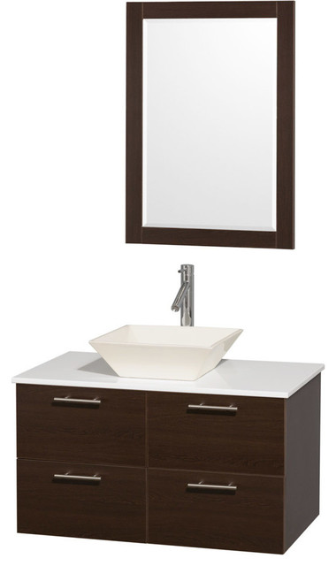 36 Single Bathroom Vanity White Man Made Stone Top Sink And 24 Mirror Contemporary