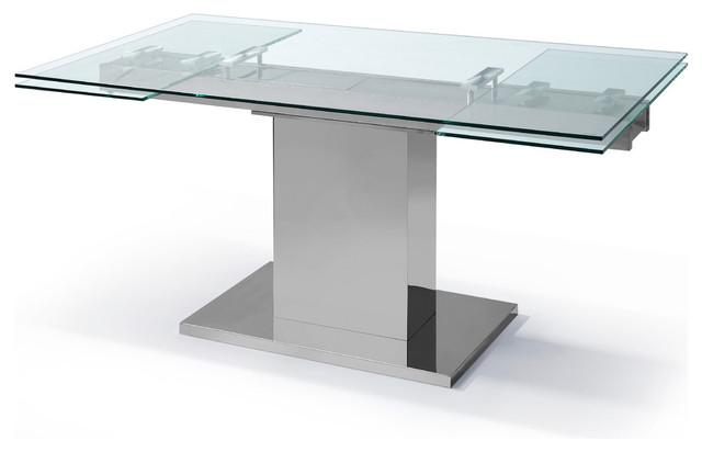 Slim Extendable Dining Table 12quot Tempered Clear Glass Top  : contemporary dining tables from www.houzz.com size 640 x 412 jpeg 27kB