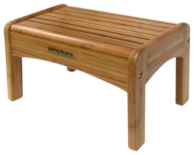 Growing up green bamboo wood step stool modern kids