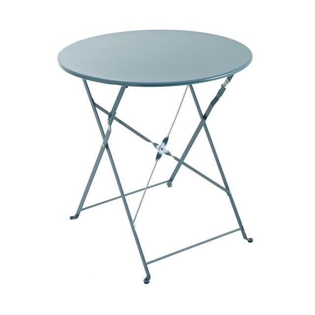 Table de jardin en m tal saba 70cm vert paon for Mesas de comedor para exterior