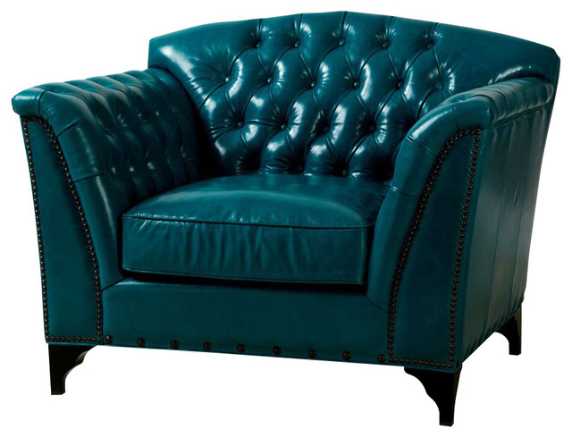Dark Turquoise Top Grain Leather Chair Traditional Armchairs And Accent C