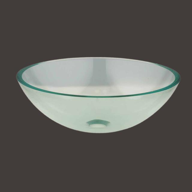 Vessel Sinks Clear Glass Green Tint 16 1 2 39 39 Dia Vessel Sink 10873 Modern Bathroom Sinks