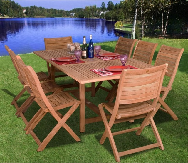 Amazonia 9 Piece Teak Wood Dublin Outdoor Dining Set Contemporary Dining Tables