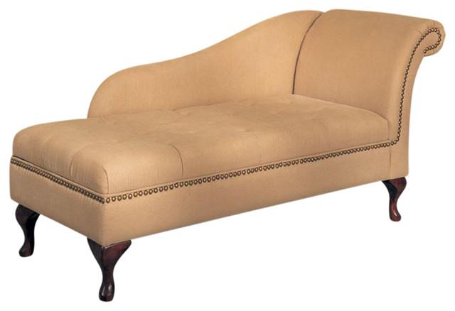 Cream brown nailhead trim microfiber chaise lounge with for Brown microfiber chaise lounger