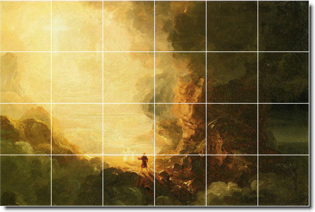 The cross and the world study 1 tile mural by thomas cole for Crossing the shallows tile mural