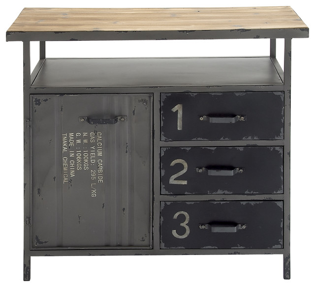 Metal Wood Utility Cabinet - Modern - Storage Cabinets - by Brimfield & May