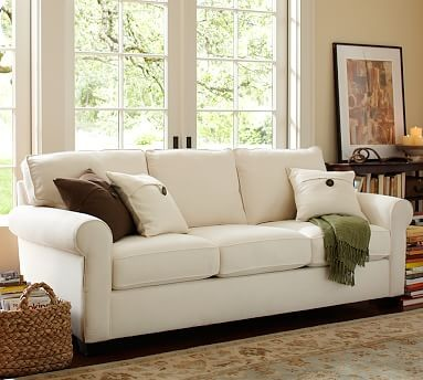 Buchanan Upholstered Sleeper Sofa Polyester Wrap Cushions Twill Parchment Traditional