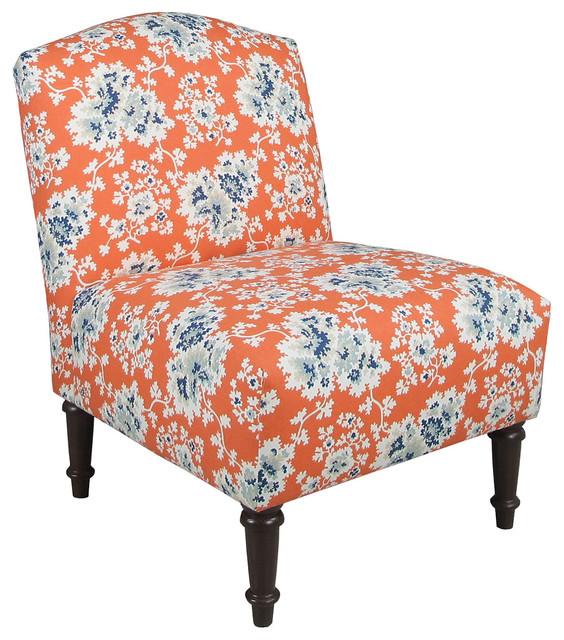 Clark Armless Chair, Orange/Blue - Contemporary ...