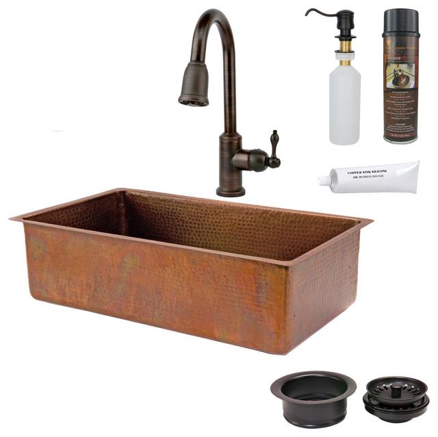 "Rustic Kitchen Sink: 33"" Antique Copper Kitchen Sink W/ ORB Faucet"