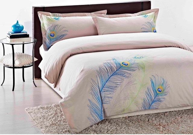 Peacock Comforter King Size: Embroidered Peacock King-Size 3-Piece Duvet Cover Set
