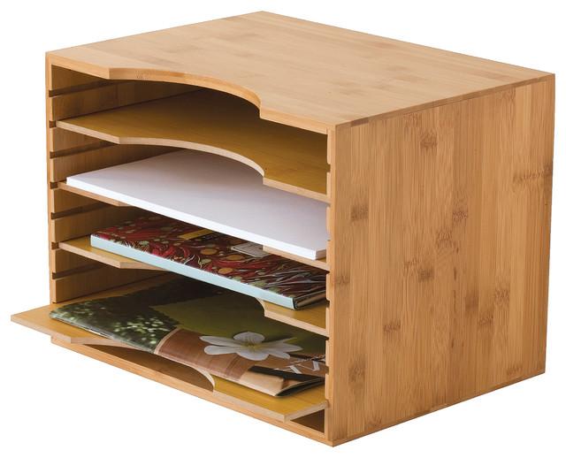 Bamboo 4-Tier File Organizer - Contemporary - Desk Accessories - by Lipper International