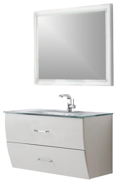 Fresca Platinum Wave 40 Bathroom Vanity With Mirror Glossy White