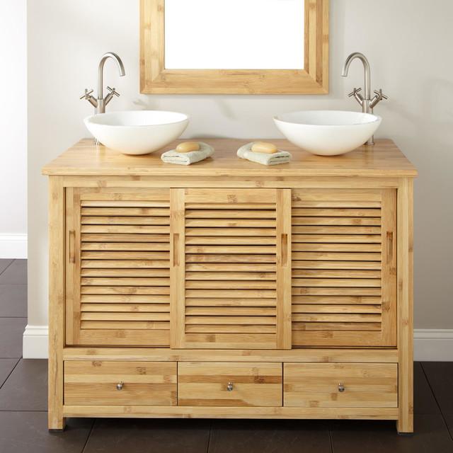48 Arrey Bamboo Double Vessel Sink Vanity Modern Bathroom Vanities And Sink Consoles