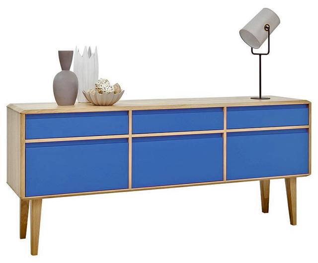 sideboard high lovell blau eiche massiv. Black Bedroom Furniture Sets. Home Design Ideas