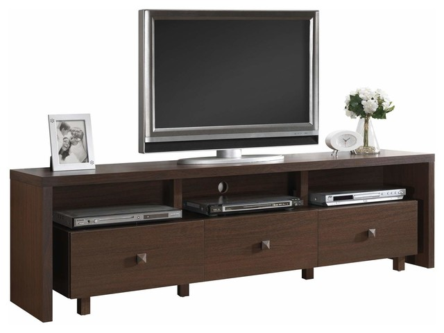 Techni Mobili 70 Inch TV Stand w/ 3 Drawer in Hickory - Modern - Entertainment Centers And Tv ...