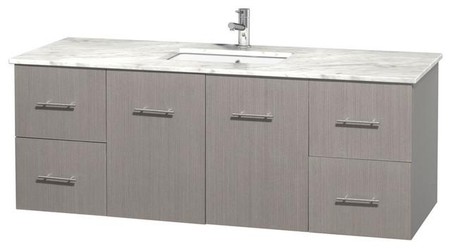 """Centra 60"""" Grey Oak Single Vanity, Countertop, Undermount ..."""