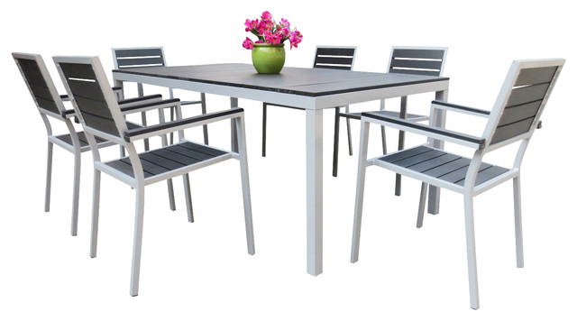 Outdoor Aluminum Resin Dining Table And Chairs 7 Piece Set Contemporary