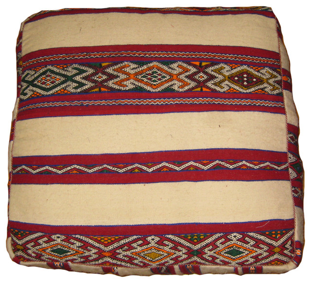 Moroccan Killim Pouf - Mediterranean - Floor Pillows And Poufs - by Kenza Imports