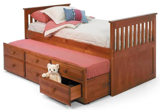Twin mission bed with trundle contemporary kids beds by