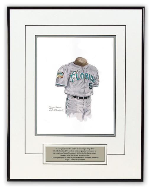 Original art of the MLB 1997 Florida Marlins uniform - Traditional - Game Room Wall Art And ...