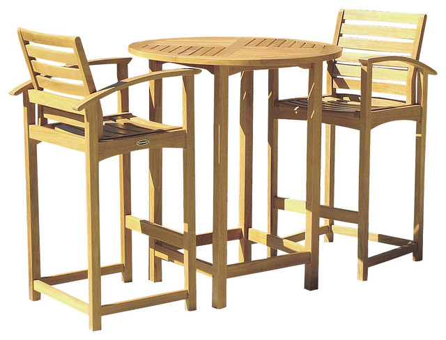 Somerset 3 Piece Teak Bar Table Set Modern Patio Furniture And Outdoor Fu