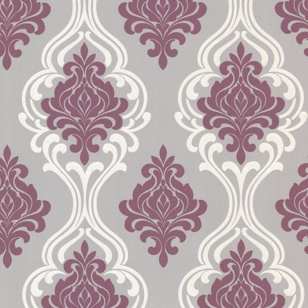 Indiana Purple Damask Wallpaper Contemporary Wallpaper