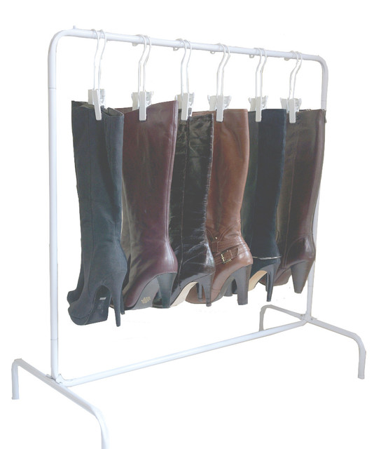 The Boot Rack With Six Silver Hangers, White, White - Contemporary - Shoe Storage - by Boottique ...
