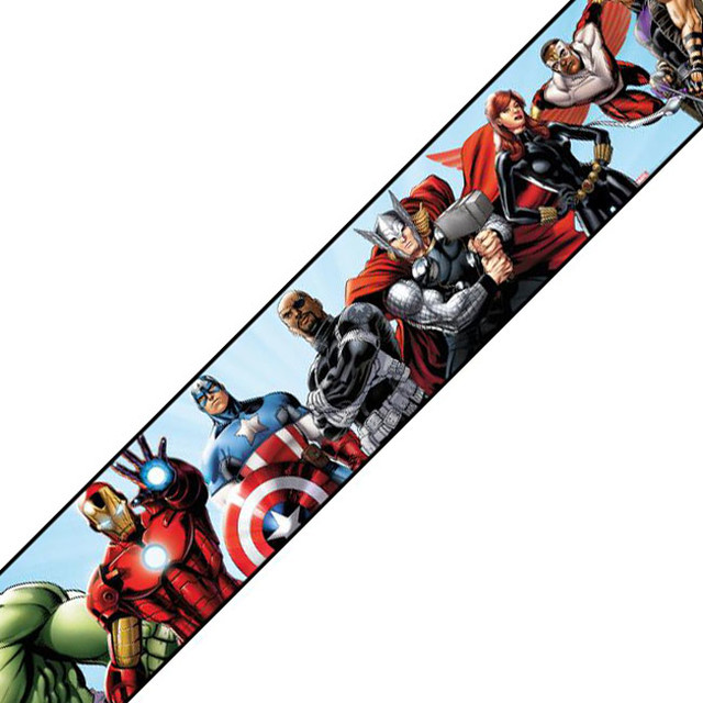 Marvel Avengers Prepasted Wall Border Comic Book Accent - Contemporary - Wallpaper - by oBedding
