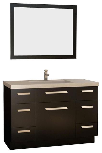 48 Inch Single Bath Vanity With Quartz Top Espresso Very Dark Brown Contemporary Bathroom