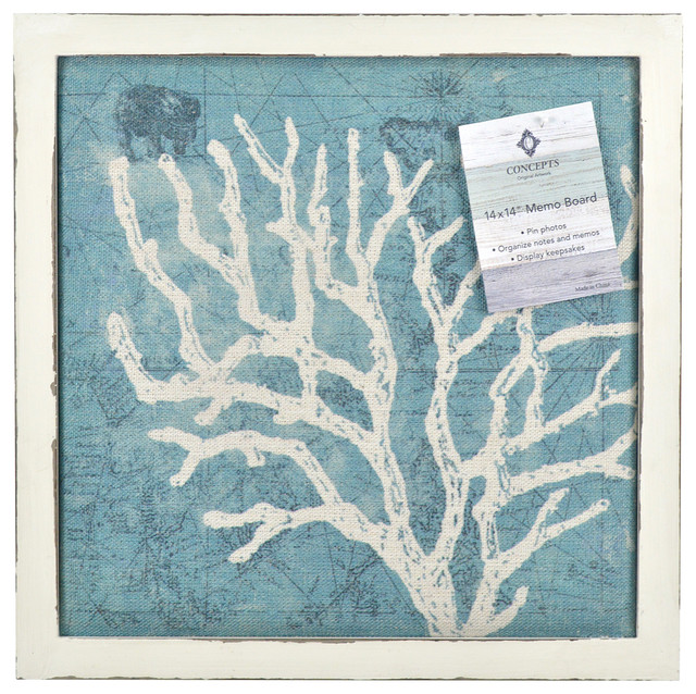 Coral Print Framed Pin Board on Canvas, Turquoise - Beach ...