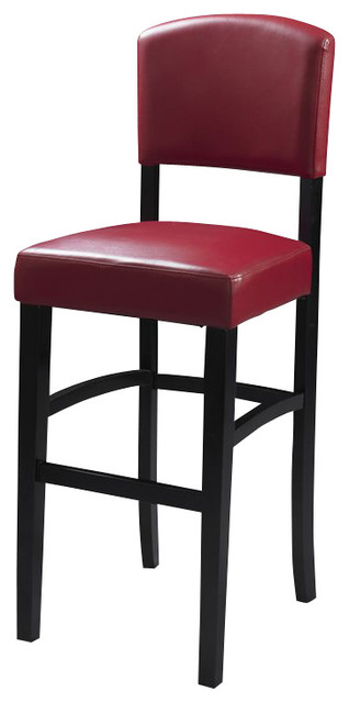 Linon Monaco 24 Inch Dark Red Stool In Espresso