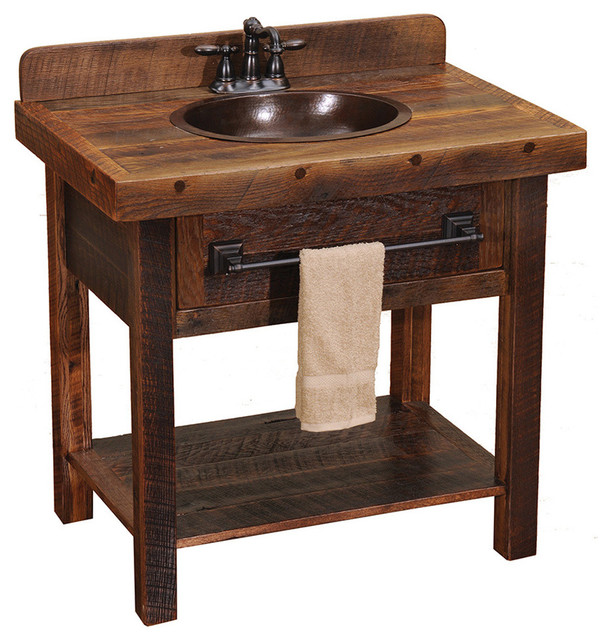 Barnwood Open Vanity With Towel Bar Rustic Bathroom Vanities And Sink Con